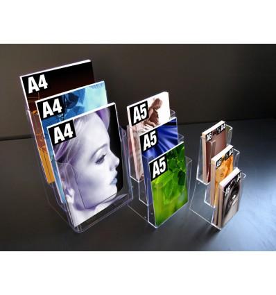 Porte brochures comptoir 3 cases 1/3 de A4 et ou A6