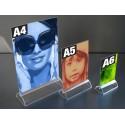 Présentoir de visuel recto-verso avec socle bombé format A4, A5, A6