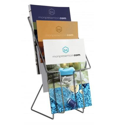 Porte brochures fil 3 bacs
